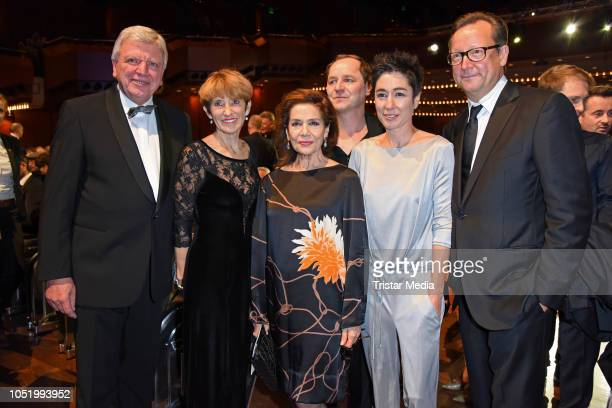 Volker Bouffier with his wife Ursula Bouffier Hannelore Elsner Thomas Schmauser Dunja Hayali and Matthias Brandt during the Hessian Film and Cinema...