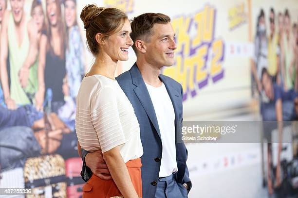 Volker Bruch and his girlfriend Miriam Stein during the world premiere of 'Fack ju Goehte 2' at Mathaeser Kino on September 7, 2015 in Munich,...