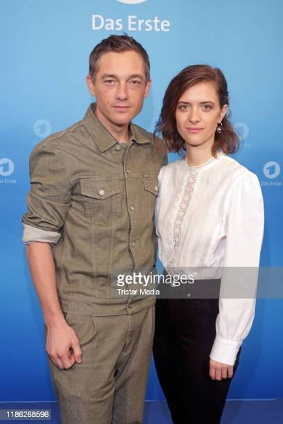 Volker Bruch and Liv Lisa Fries attend the Das Erste Annual Press Briefing on December 3, 2019 in Hamburg, Germany.