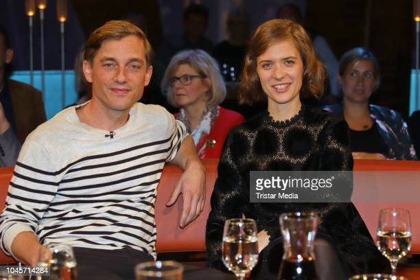 Volker Bruch and Liv Lisa Fries during the 'NDR Talk Show' TV show on October 4 2018 in Hamburg Germany