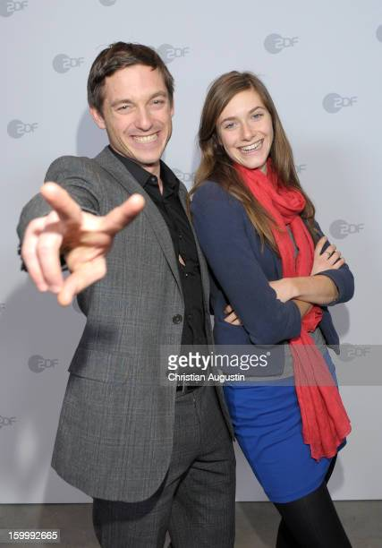 """Volker Bruch and Miriam Stein attend Photocall of TV-Production """"Unsere Muetter, unsere Vaeter"""" at Metropolis cinema on January 24, 2013 in Hamburg,..."""