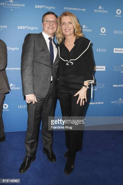 Volker Herres and Maria Furtwaengler attend the Porsche at Blue Hour Party hosted by ARD during the 68th Berlinale International Film Festival Berlin...