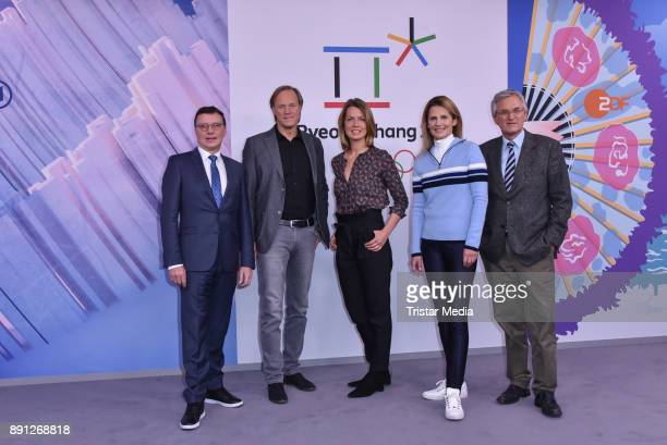 Volker Herres Gerhard Delling Jessy Wellmer Katrin MuellerHohenstein and Peter Frey during the Olympia Press Conference on December 12 2017 in Berlin...