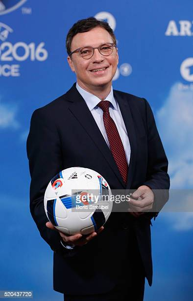 Volker Herres program director of ARD Das Erste pose during a photocall prior to the ZDF UEFA Euro 2016 press conference at Radialsystem on April 11...