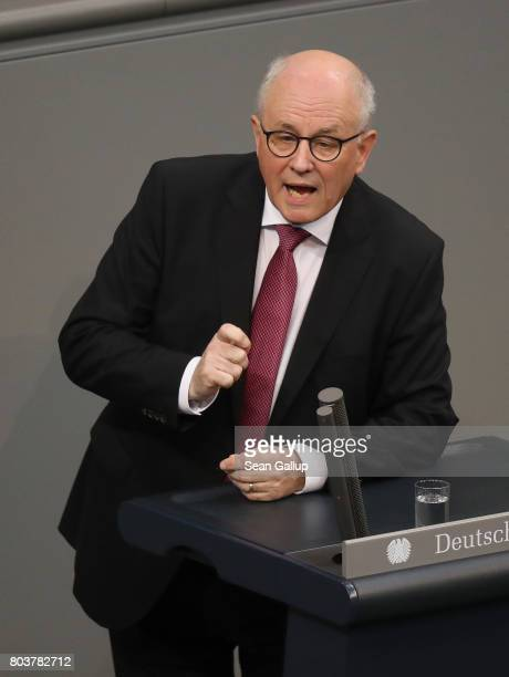 Volker Kauder Bundestag faction leader of the German Christian Democrats speaks prior to a vote at the Bundestag on a new law to legalize gay...