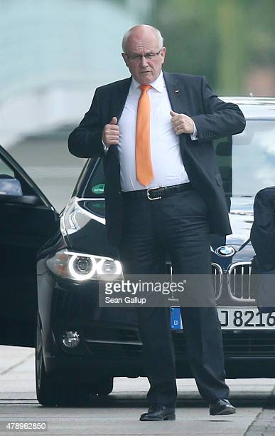 Volker Kauder Chairman of the German Christian Democrats faction in the Bundestag arrives at the Chancellery for an extraordinary meeting with German...