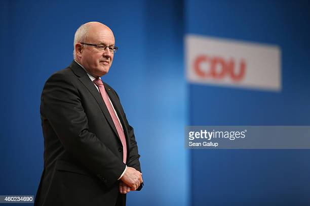 Volker Kauder head of the German Christian Democrats Bundestag faction attends the annual CDU party congress on December 10 2014 in Cologne Germany...