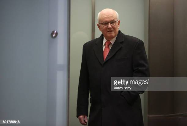 Volker Kauder parliamentary group leader of the CDU/CSU faction in the German Bundestag enters an elevator as he leaves a meeting in the Bundestag...