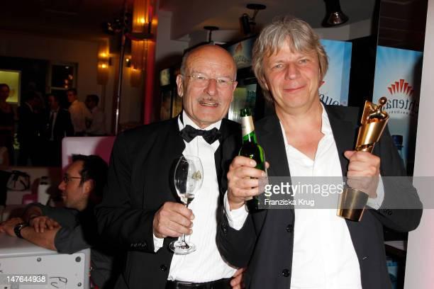 Volker Schloendorff, Andreas Dresen attend the Lola German Film Award 2012 at Friedrichstadtpalast on April 27, 2012 in Berlin, Germany.