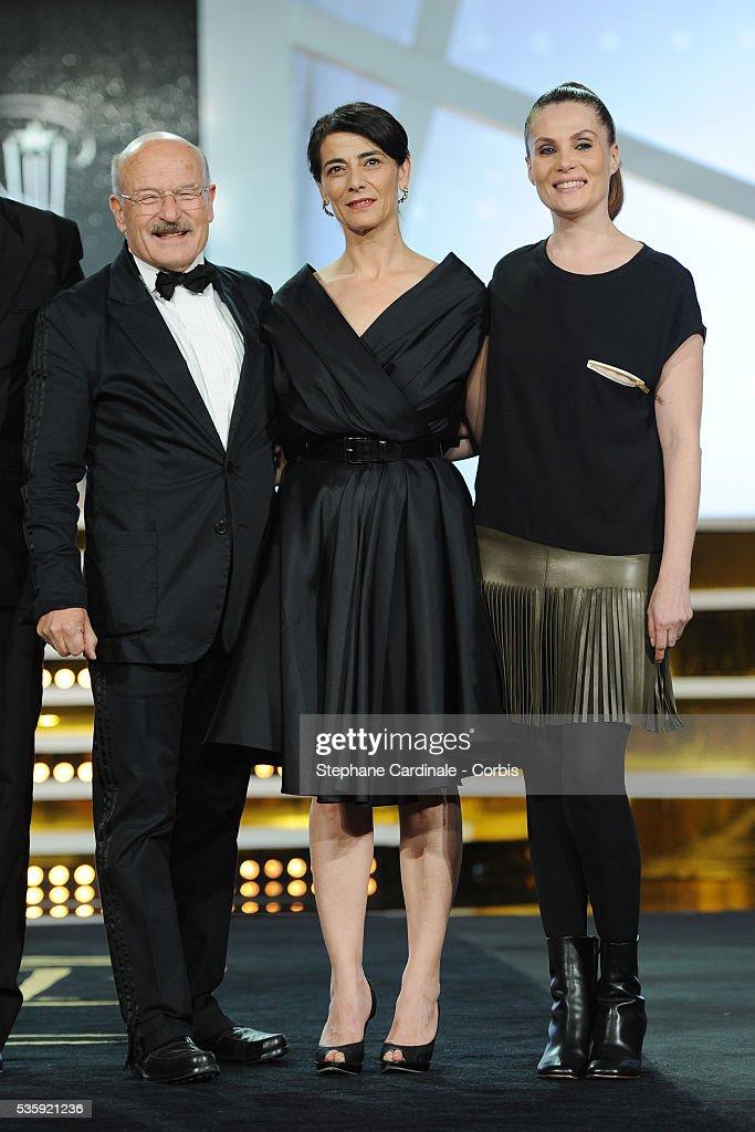 Volker Schlondorff, Hiam Abbas and Emmanuelle Seigner attend the Short Films Award Ceremony, during the10th Marrakech Film Festival, in Marrakech.