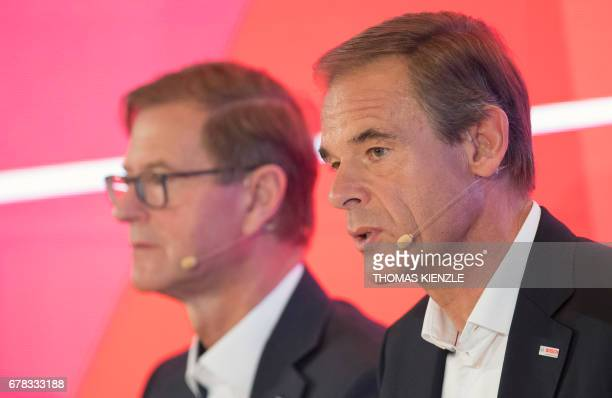 Volkmar Denner CEO of German technology concern Bosch and CFO Stefan Asenkerschbaumer attend the company's annual press conference at the Bosch...