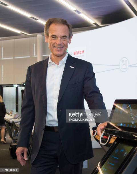 Volkmar Denner CEO of German technology concern Bosch poses during the company's annual press conference at the Bosch Technology Center in Renningen...