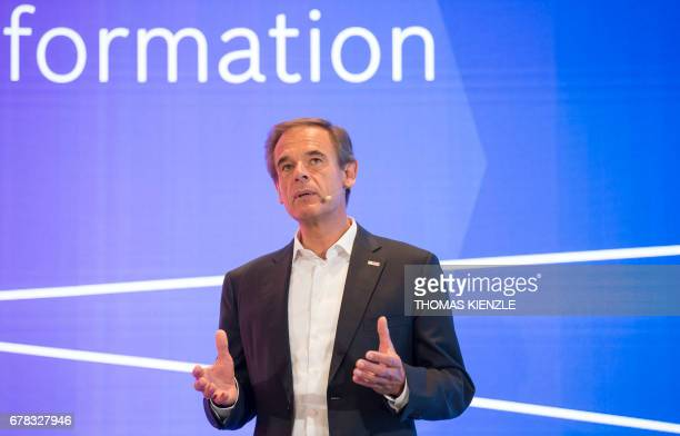 Volkmar Denner CEO of German technology concern Bosch talks during the company's annual press conference at the Bosch Technology Center in Renningen...