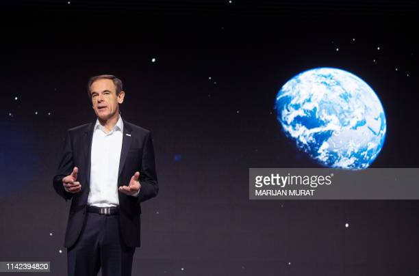 Volkmar Denner CEO of Robert Bosch GmbH speaks during his company's annual press conference on May 9 2019 in Renningen southern Germany / Germany OUT