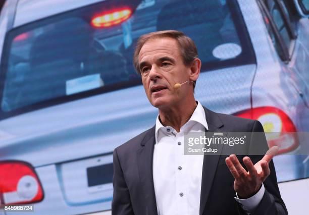 Volkmar Denner Chairman of German auto parts manufacturer Robert Bosch GmbH speaks at the 2017 Frankfurt Auto Show on September 12 2017 in Frankfurt...