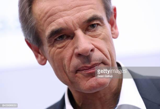 Volkmar Denner Chairman of German auto parts manufacturer Robert Bosch GmbH attends the 2017 Frankfurt Auto Show on September 12 2017 in Frankfurt am...