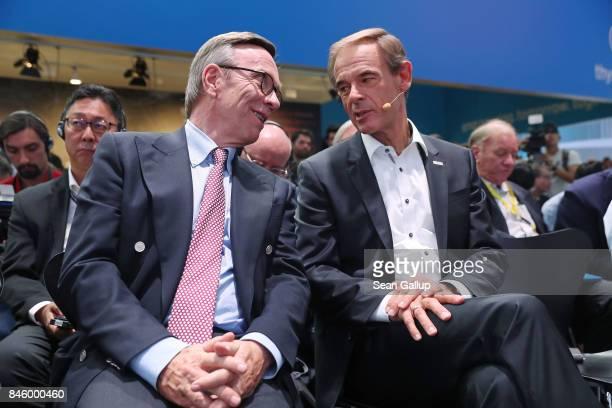 Volkmar Denner Chairman of German auto parts manufacturer Robert Bosch GmbH and Matthias Wissmann President of the German Automobile Industry...
