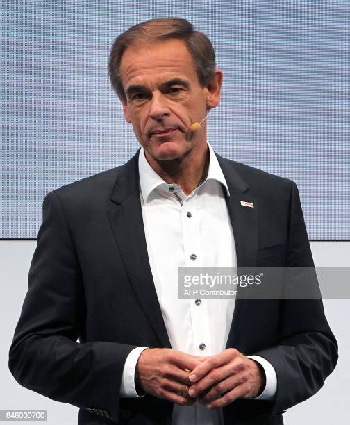 Volkmar Denner Chairman of the board of German company Bosch is pictured at the Frankfurt Auto Show IAA in Frankfurt am Main Germany on September 12...