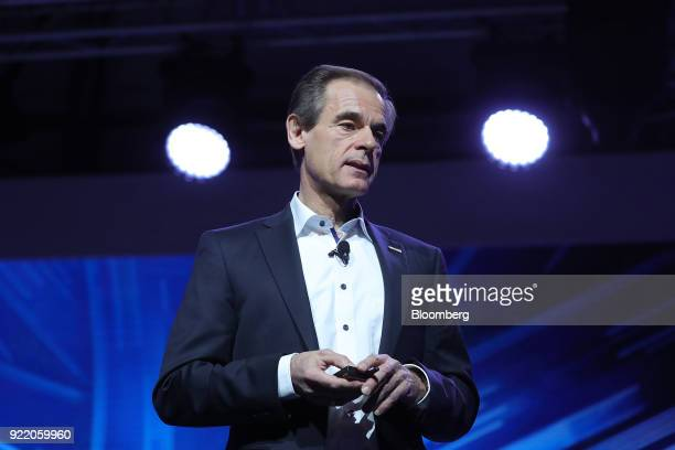Volkmar Denner chief executive officer of Robert Bosch GmbH pauses while delivering a keynote speech at the Bosch Internet of Things conference in...