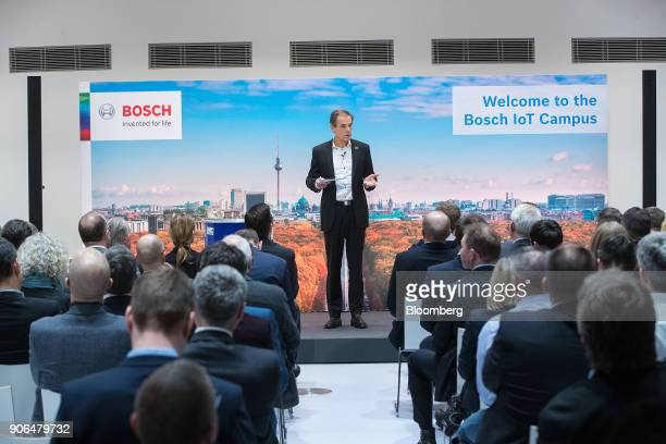 Volkmar Denner chief executive officer of Robert Bosch GmbH speaks on stage as the industrial engineering company opens an Internet of Things center...