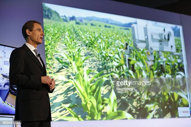 Volkmar Denner chief executive officer of Robert Bosch GmbH speaks during an event at the 2016 Consumer Electronics Show in Las Vegas Nevada US on...