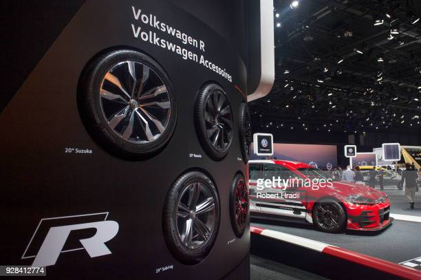 Volkswagen Accessories with VW Golf GTI TCR in background at the 88th Geneva International Motor Show on March 7 2018 in Geneva Switzerland Global...