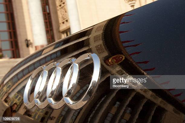 A Volkswagen AG Audi A6 sits parked outside of the Great hall of the People on Friday March 11 2011 Chinese officialdom's vehicle of choice...