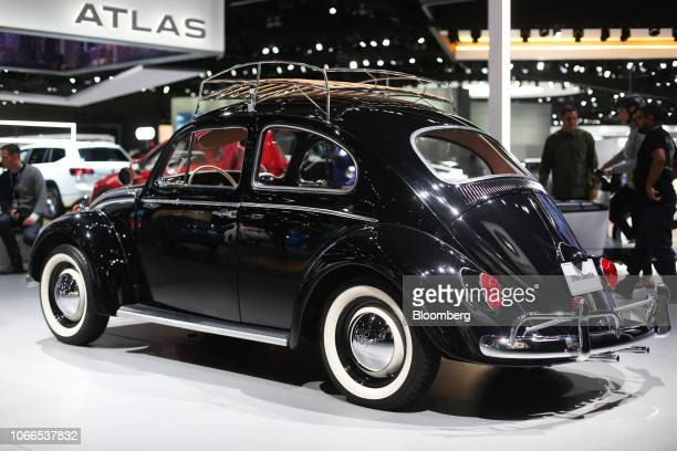 Volkswagen AG Beetle is displayed during AutoMobility LA ahead of the Los Angeles Auto Show in Los Angeles, California, U.S., on Thursday, Nov. 29,...