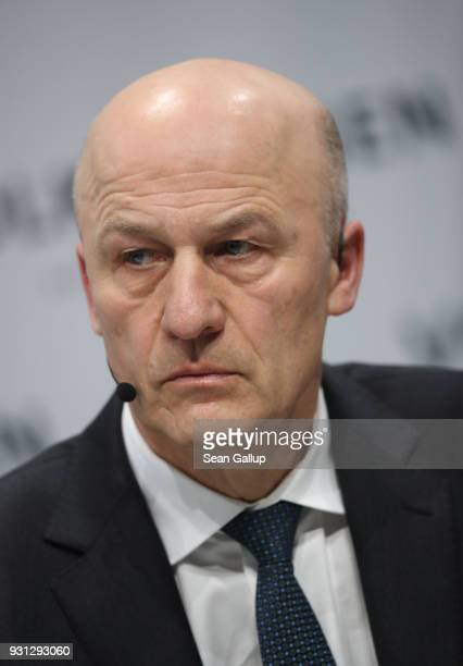 Volkswagen AG Chief Financial Officer Frank Witter attends the company's annual press conference on March 13 2018 in Berlin Germany Company Chairman...