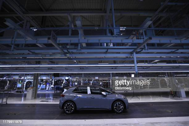 Volkswagen AG ID.3 electric automobile stands on the quality check line following assembly at the automaker's factory in Zwickau, Germany, on Monday,...