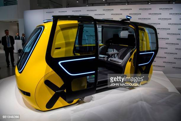 A Volkswagen autonomous 'Sedric' vehicle is on display at VW's showrooom where the German car maker is holding its annual press conference in Berlin...