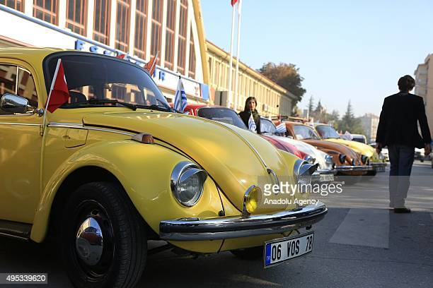 Volkswagen Beetle cars are seen before the former president of Uruguay Jose Mujica and his wife Lucia Topalansky an Uruguayan senator arrive in...