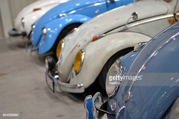 Volkswagen Beetle classic cars in a row