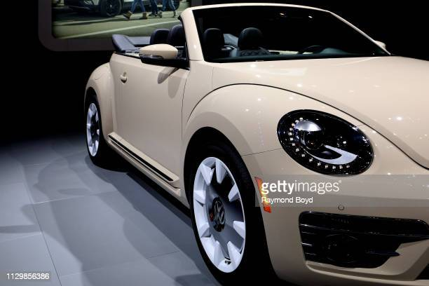 Volkswagen Beetle Convertible is on display at the 111th Annual Chicago Auto Show at McCormick Place in Chicago, Illinois on February 7, 2019.