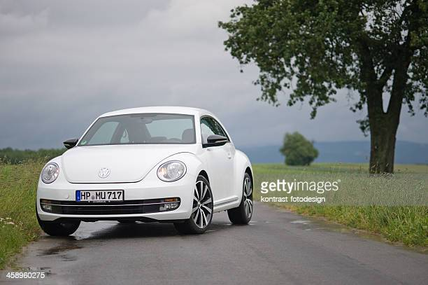 volkswagen beetle on a countryroad - volkswagen beetle stock photos and pictures