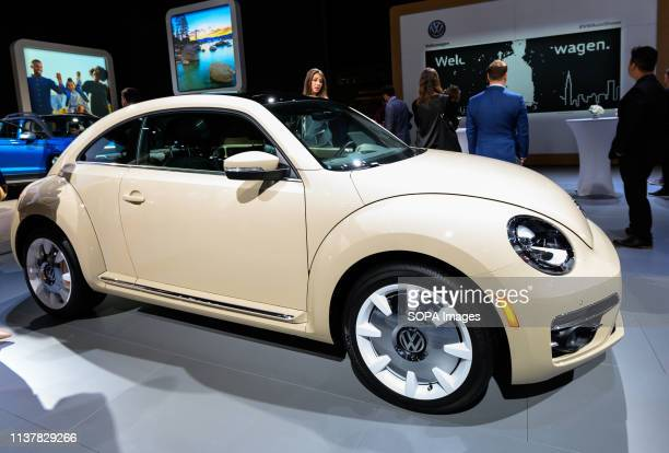 Volkswagen Beetle seen at the New York International Auto Show at the Jacob K Javits Convention Center in New York