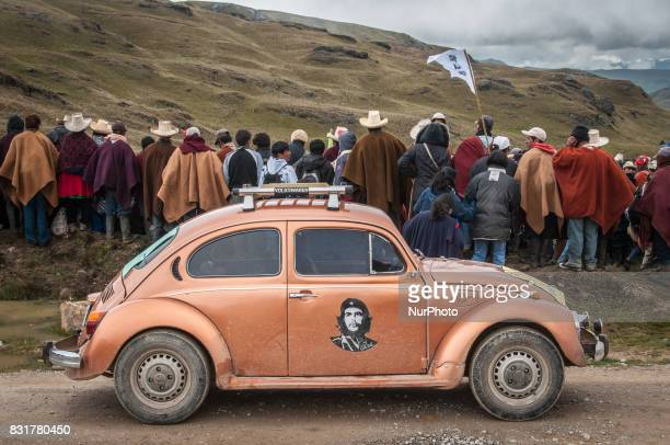 A Volkswagen Beetle with the image of Che Guevara on the door during an indigenous protest against the Conga Gold Mine a project proposed by Newmont...