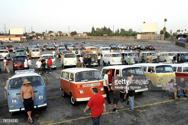 Volkswagen bus enthusiasts gather for a screening of 'Little Miss Sunshine' July 25 2006 at Vineland DriveIn in City of Industry California