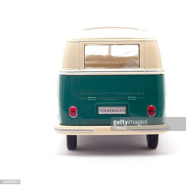 volkswagen camper isolated on white rear view - volkswagen stock pictures, royalty-free photos & images
