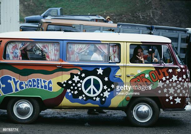 A Volkswagen camper van with psychedelic paintwork at the Woodstock '94 music festival Saugerties New York 12th14th August 1994