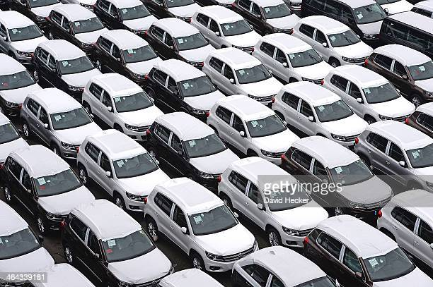 Volkswagen cars destined for export overseas stand parked and waiting to be loaded onto ships on January 22, 2014 in Bremerhaven, Germany....