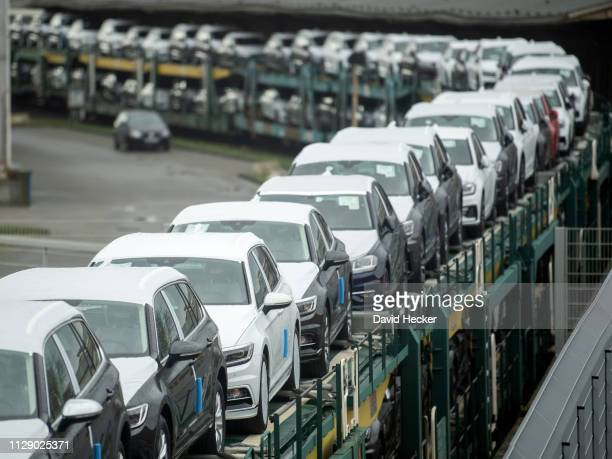 Volkswagen cars stand at Cuxhaven port prior to loading onto ferries for transport to the United Kingdom on March 7, 2019 in Cuxhaven, Germany....