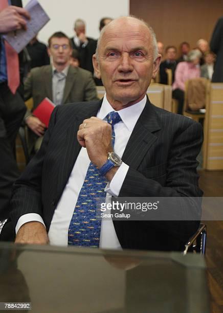 Volkswagen Chairman Ferdinand Piech arrives at court to testify in the current Volkswagen embezzlement trial January 9 2008 in Braunschweig Germany...