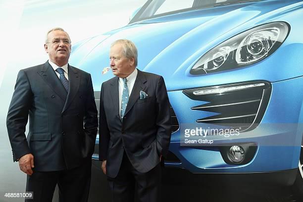 Volkswagen Chairman Martin Winterkorn and Porsche Governing Board Chairman Wolfgang Porsche attend the official opening of the new Porsche Macan...