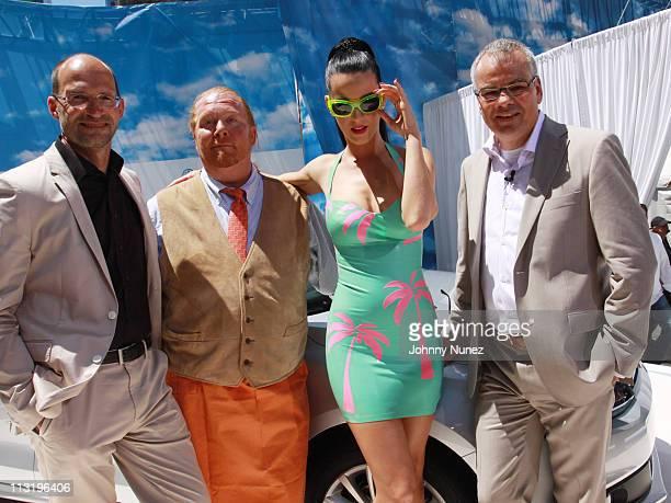 Volkswagen designer Klaus Bischoff Mario Batili Katy Perry and Volkswagen CEO Stefan Jacoby attend the world premiere of Volkswagen's new compact...