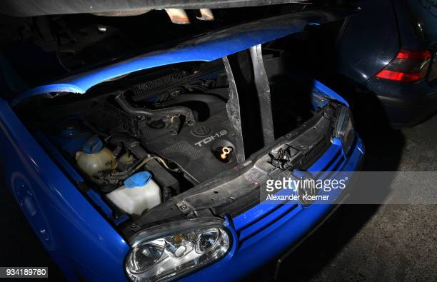 Volkswagen diesel car with a EURO 4 green badge stands at a scrap yard on March 19 2018 in Hamburg Germany Diesel car owners in Germany are fearing...