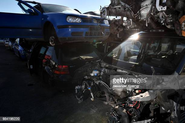 Volkswagen diesel car with a gutted engine of a EURO 4 green badge stands at a scrap yard on March 19 2018 in Hamburg Germany Diesel car owners in...
