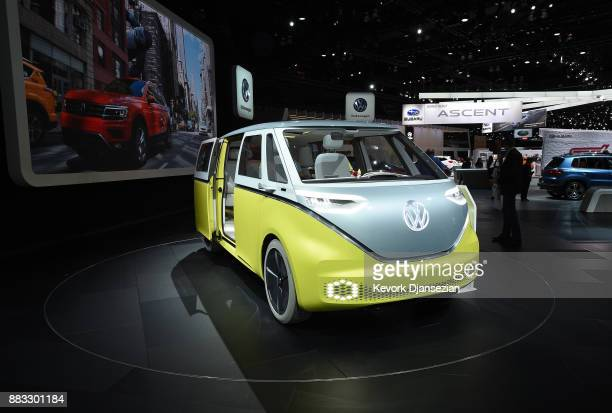 Volkswagen displays the new IDBuzz hybrid concept car during the auto trade show AutoMobility LA at the Los Angeles Convention Center November 30 in...