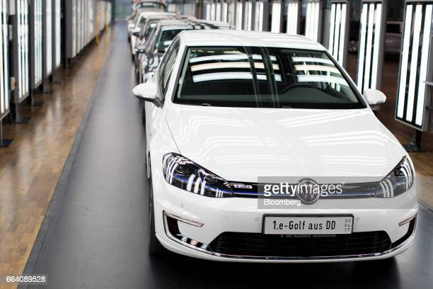 Volkswagen Egolf Electric Automobiles Stand In The Light Tunnel Inside Ag Factory Dresden