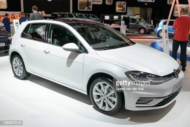 Volkswagen Golf compact family hatchback car on display at Brussels Expo on January 13 2017 in Brussels Belgium The Volkswagen Golf Mk7 is available...